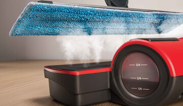 Moppy Red the final solution for steam cleaning and cordless mop - cleans and sanitizes in 5 steps