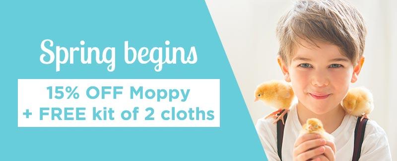 Spring begins: 15% OFF Moppy + FREE kit cloths
