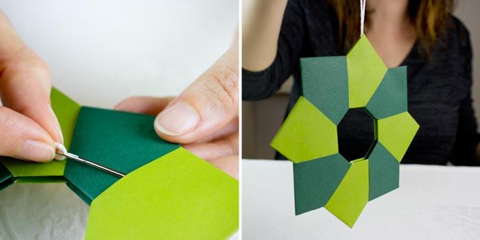 ghirlanda origami con ferro da stiro - step7