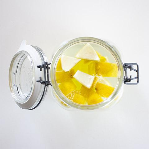 Reusable dusting cloths: add lemon juice, hot water, vinegar and olive oil